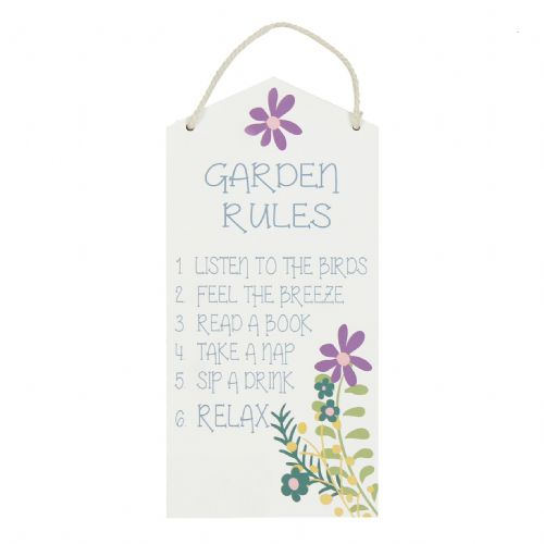 Garden Rules Hanging Plaque - Country Shabby Chic Hanging Wooden Plaque For The Garden
